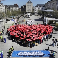 Greenpeace volunteers create a I ? Arctic human banner in Ghent.