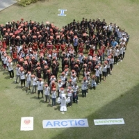 More than 200 students from the Lyceum of the Philippines Cavite Campus form a human 'I Love Arctic' banner.