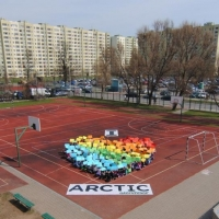 Over 100 school children create a I Love Arctic human banner in Warsaw  